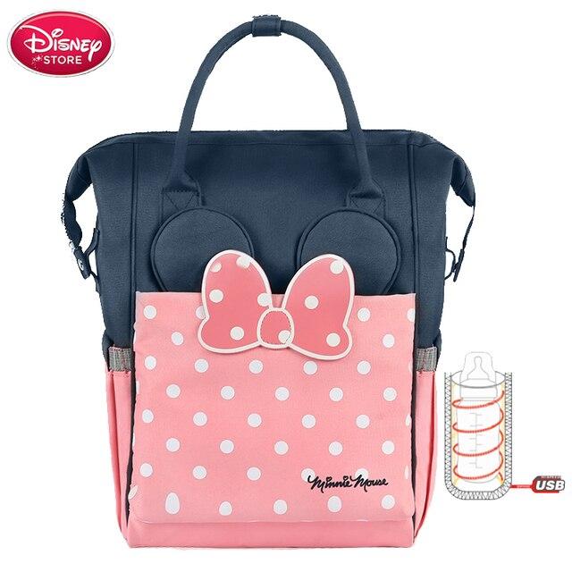 Disneyผ้าอ้อมกระเป๋าผ้าอ้อมกระเป๋าUSBเครื่องทำความร้อนขวดอุ่นMinnie Disney Mummyกระเป๋าเด็กกระเป๋าเป้สะพายหลังกันน้ำรถเข็นเด็ก