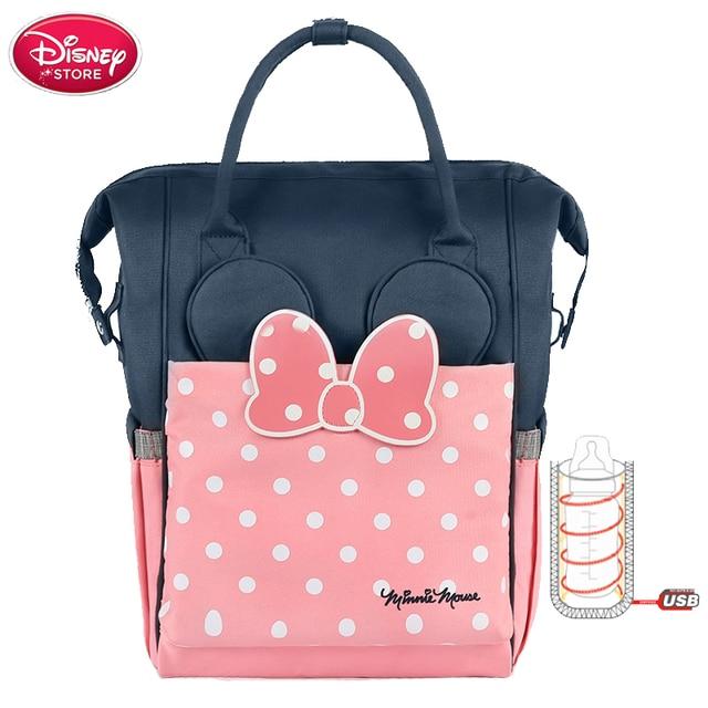 Disney saco de fraldas para a mãe saco de fraldas usb garrafa de aquecimento mais quente minnie disney múmia sacos de bebê mochila de viagem à prova dstroller água carrinho