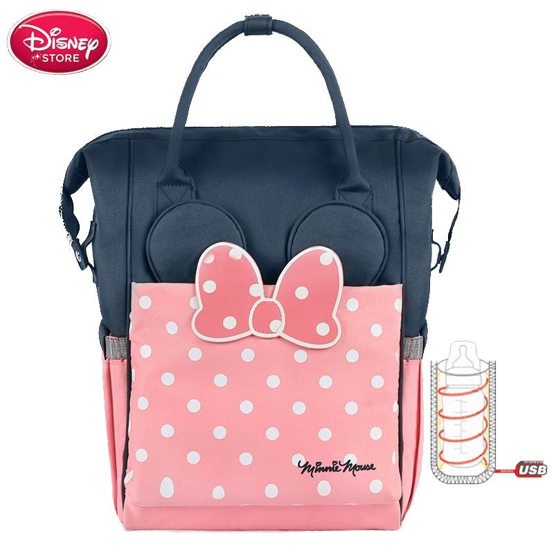Sac à langer Disney pour maman sac à langer chauffe biberon USB chauffe biberon Minnie Disney momie bébé sacs voyage sac à dos poussette étanche