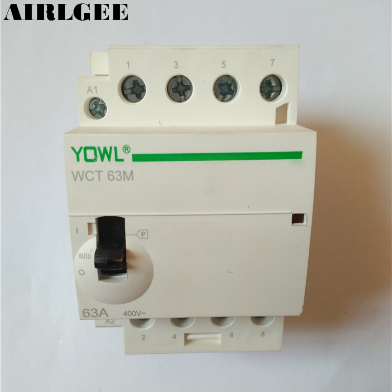 WCT-63A 35mm DIN Rail Mount 4-Pole Household AC Power Contactor Modular With manual 63A Uc 220V/240V gm wct tc01v8
