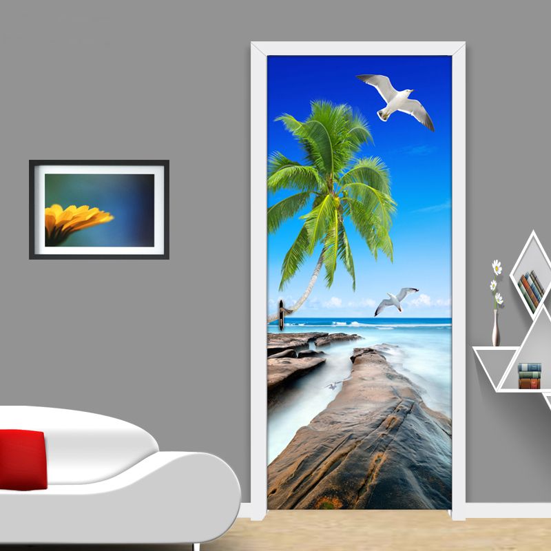 Modern Simple Living Room Door Decoration Sticker Mural PVC Self-adhesive 3D Sea View Coconut Trees Reef Stone Photo Wallpaper 3d coconut tree beach sunshine pvc wall sticker sea water stone blue sky full color decals home decor