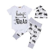 Милые Одежда для новорожденных 3 шт. Summer Infant Обувь для девочек для маленьких мальчиков Боди Топы корректирующие Повседневное медведя Брюки для девочек Леггинсы для женщин шапка комплект одежды