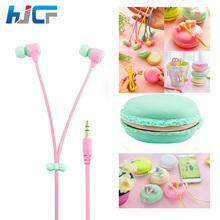 Fashion Macaron Colorful 3.5mm Jack Macaron Case Packing Headphone Stereo Earphone with Mic for Phones MP3 Noodle Cable Earphone