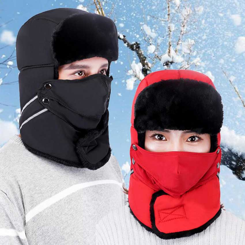 Russian Bomber Hats Women Men Winter Windproof Ski Hat With Ear Flaps And Mask Warm Hats Trooper Trapper Cap Hunting Hunters Cap