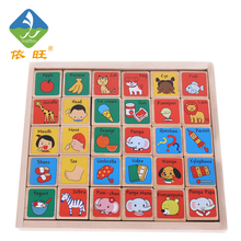 Wooden Toy  Alphabet Blocks 30PCS Domino Baby Figure Toy Kids Educational Wooden Toy