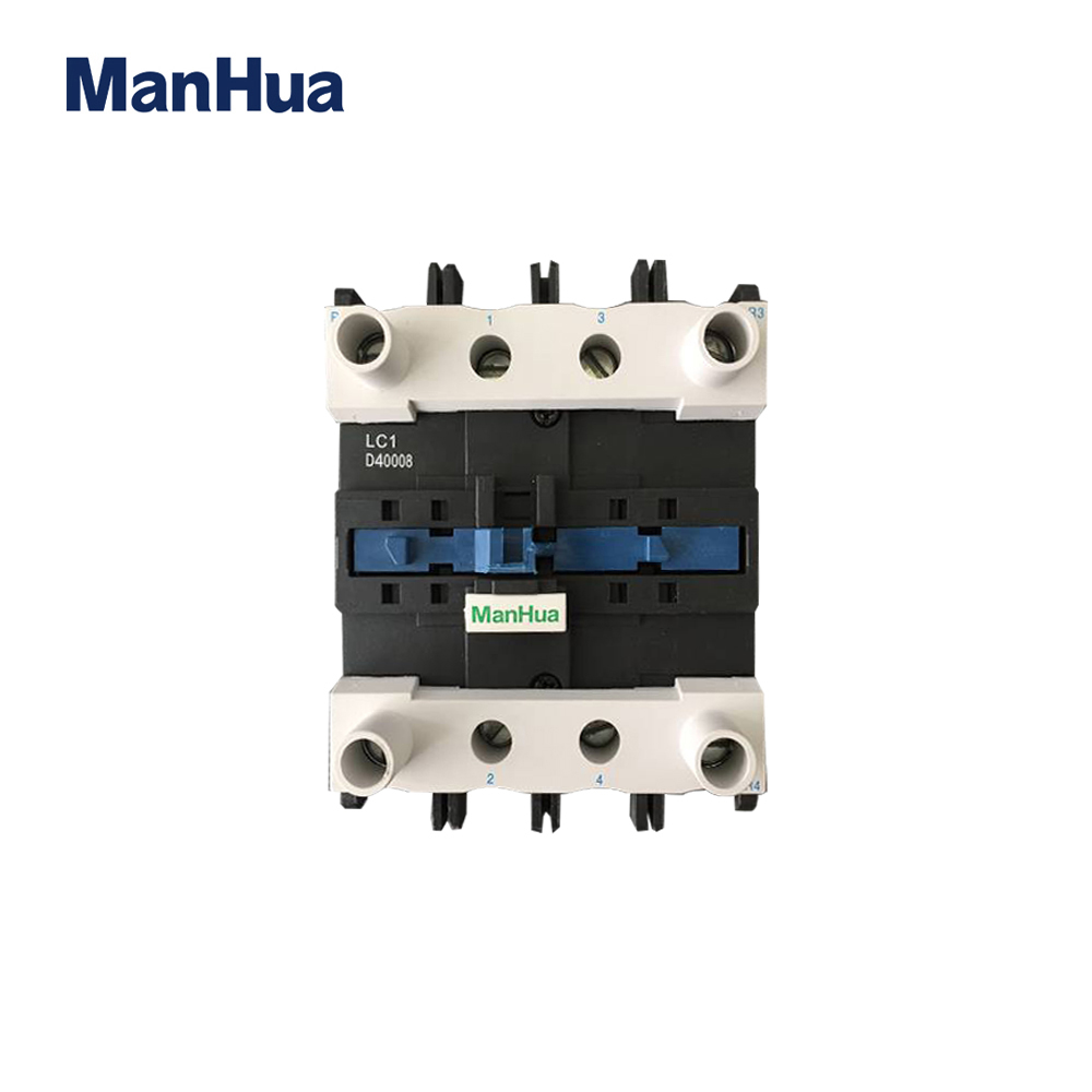 Manhua 110V 40A 4P LC1D40008 AC DIN Rail Mounting Black White Contactor With LA1 DN22