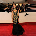 Celebrity Dresses Beyonce Red Carpet vestidos Sexy sirena de la envoltura vestidos lentejuelas negro oro con cuentas de noche largo vestidos 2015