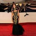 Vestidos celebridade Beyonce Red Carpet vestidos Sexy bainha sereia preto lantejoulas vestidos de ouro frisado longos vestidos de noite 2015