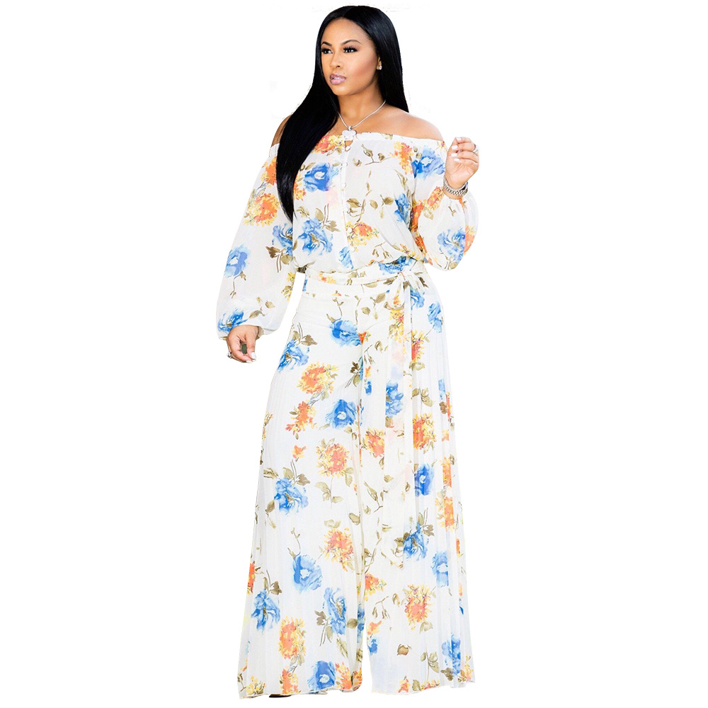 Button Floral Print Jumpsuit Women Sexy Off Shoulder Slash Neck Long Sleeve Bandage Loose Jumpsuit Casual Female Body Overalls