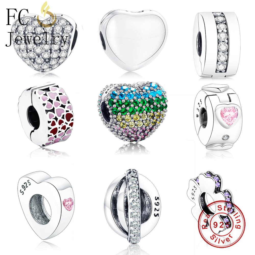 FC Jewelry Fits Original Pandora Charm Bracelet 925 Sterling Silver Heart Mix CZ Enamel Beads Spacer Stopper Clips DIY Berloque
