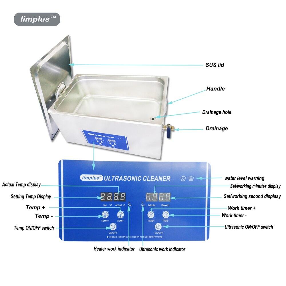 Limplus Hoge Kwaliteit Professionele Digitale Ultrasone Reiniger 10L Gratis Mand Industriële Ultrasone Reiniging Tank - 6