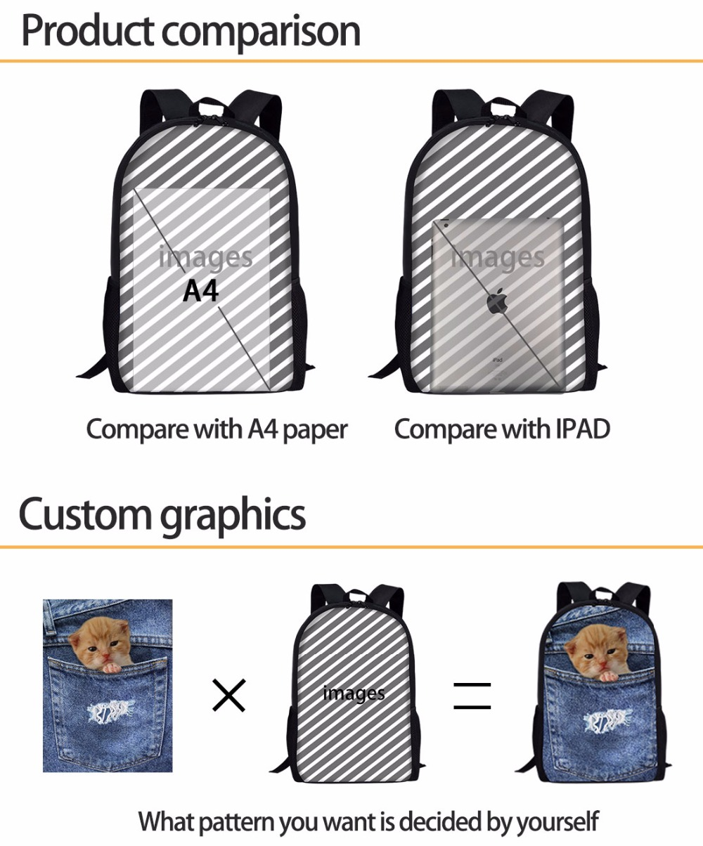 FORUDESIGNS School Bag Backpack Schoolbag Cute Pug Dog Printing Children Backpacks Kids Bag Satchel Student Primary Rucksack