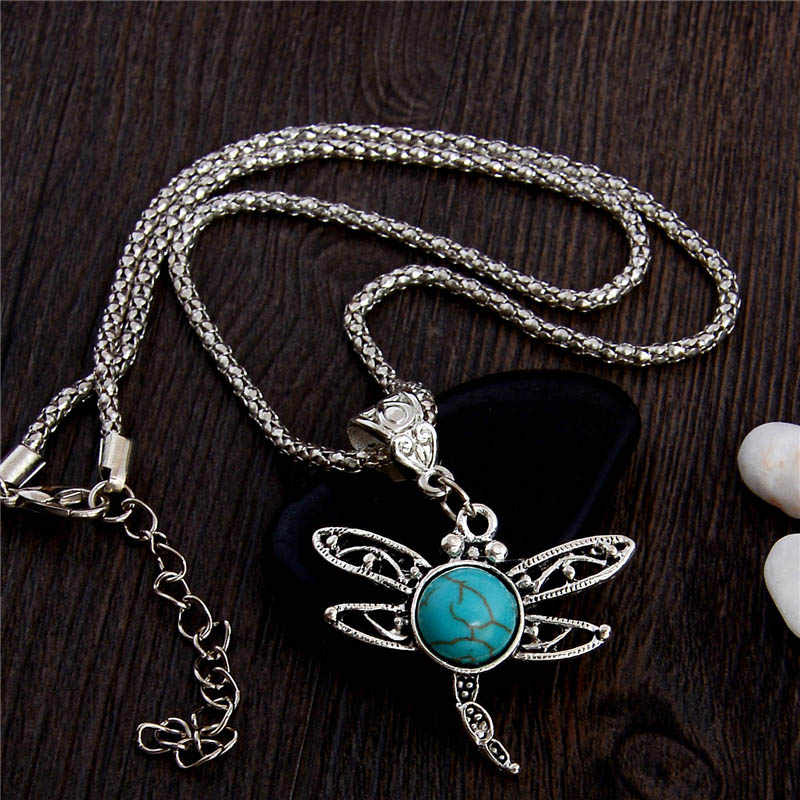 QCOOLJLY Lovely Dragon Shape 1pc Lady Women's Fine Attractive Vintage Pendant Dragonfly Necklace Animal Cartoon Chain Necklace