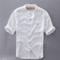 2017 Camisas de Los Hombres de Manga Corta de Lino Puro Sólido Blanco Hombres camisa Marca Camisa Para Hombre Delgado de Lino Del Verano Cómodas Camisas Para Hombre Camisa