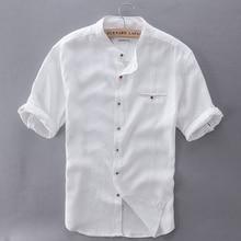 2017 Pure Linen Shirts Men Short Sleeve Solid White Men Shirt Brand Summer Flax Shirt Mens Slim Comfortable Shirts Mens Camisa