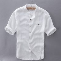 2017 Pure Linen Shirts Men Short Sleeve Solid White Men Shirt Brand Summer Flax Shirt Mens