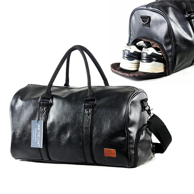 Leather Gym Bags Men PU Travel Crossbody Bags With Shoe Compartment Waterproof Gym Sport Bags Outdoor Training Storage Handbag