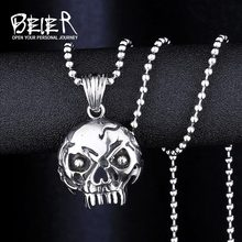 BEIER Wholesale Punk Ugly Skull Pendant Necklace For Girl Boy Stainless Steel No Fade Man Jewelry WP8-033(China)