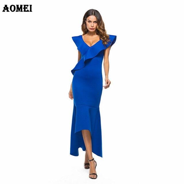 b261215ef6 Woman Slim Dress Party Wear Evening Dance Clothing Elegant Blue White  Ruffles Sexy Tight Vestido Fashionable Summer Maxi Dresses