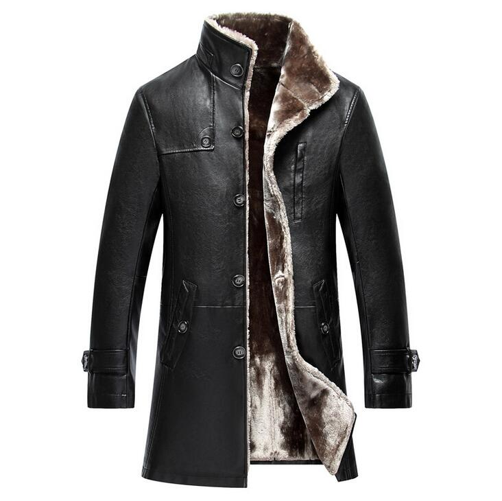 2018 Winter Thicken Leather Coat Men Long Section Casual Turn-down Collar Leather Coat Warm Jacket Coat