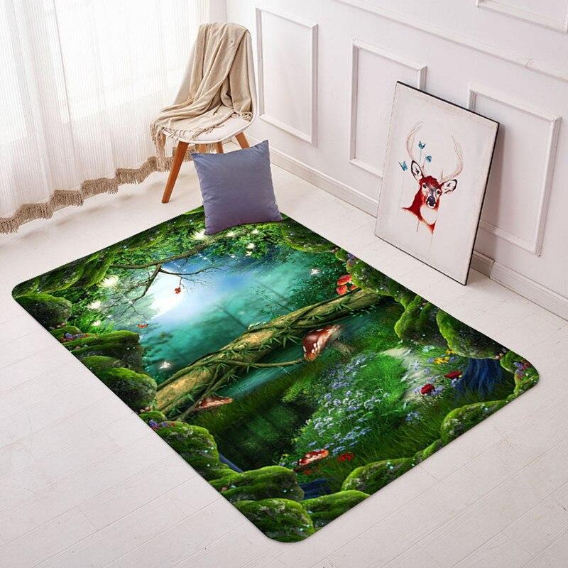 Forest 3D Printed Carpets For Living Room Bedroom Area Rugs Bathroom Kitchen Antiskid Doormat Jungle Style Custom Carpet Tapetes
