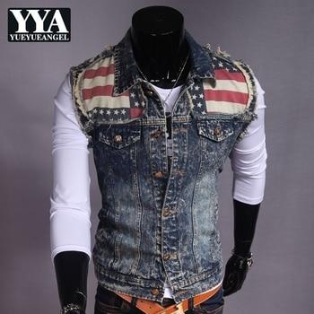 England Style Vintage Pattern Denim Vest Men Sleeveless Washed Tops Coats Men Retro Ripped Hole Hip Hop Slim Jacket Outwear