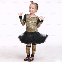 Anime Cartoon Holiday Leopard Cat Costume Children Girl Tail Cospaly Party Dress Tutu Suit Halloween Costume Kids Christmas