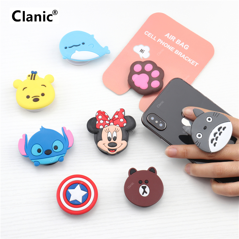 Clanic Cute Cartoon Mobile phone grip bracket expanding stand finger ring holder