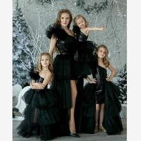 Baby Mommy Dress Matching Mother Daughter Clothes Mom and Daughter Wedding Party Dress Oblique Shoulder Mesh Black Costume Y684