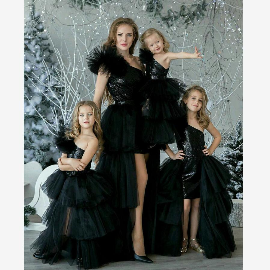 Baby Mommy Dress Matching Mother Daughter Clothes Mom and Daughter Wedding Party Dress Oblique Shoulder Mesh Black Costume Y684Baby Mommy Dress Matching Mother Daughter Clothes Mom and Daughter Wedding Party Dress Oblique Shoulder Mesh Black Costume Y684