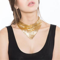 Punk Fashion Girls Gold Black Chocker Bling Aluminum Sequins Collar Choker Necklace 2016 Harajuku Statement Necklace