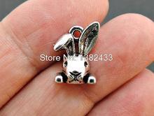 30 шт.-подвески в виде кролика, Античные тибетские серебряные шарменты в виде кролика, товары для творчества 15x10 мм