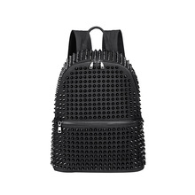 JIEROTYX Fashion Female Women Backpacks Rivet Black Soft Washed Leather Bag Schoolbags For Girls Punk Bags Travel Zipper