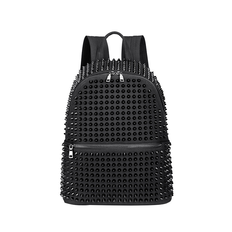JIEROTYX Fashion Female Women Backpacks Rivet Black Soft Washed Leather Bag Schoolbags Girls Punk Bags Travel Zipper Discount