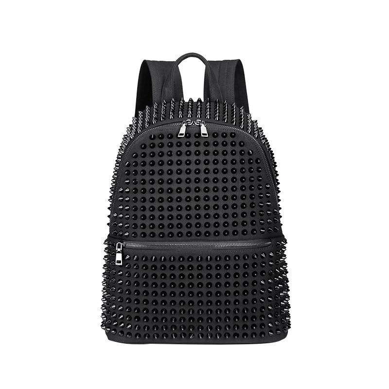 JIEROTYX Fashion Female Women Backpacks Rivet Black Soft Washed Leather Bag Schoolbags Girls Punk Bags Travel Zipper Discount