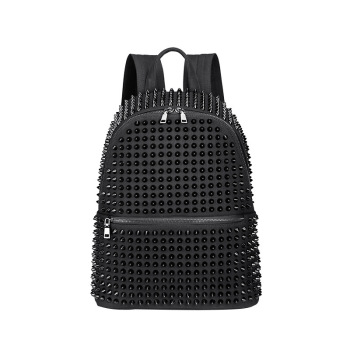 JIEROTYX Fashion Female Women Backpacks Rivet Black Soft Washed Leather Bag Schoolbags Girls Punk Bags Travel Zipper Discount miyahouse female harajuku ulzzang soft velvet backpacks teenagers girls koreanstyle velour shoulder schoolbags women travel bags