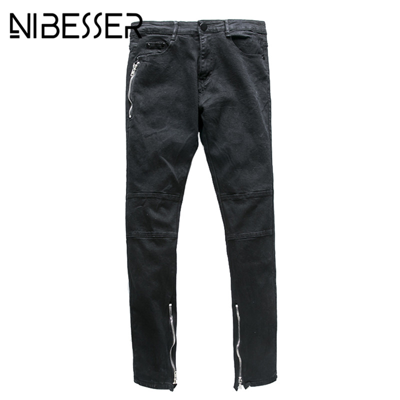 NIBESSER Mens Jeans 2017 Spring Autumn New Fashion Washed Motorcycle Side Zipper Designed Male Slim Elastic Denim Trousers new fashion spring autumn mens jeans slim fitness cotton elastic pants male clothing denim trousers