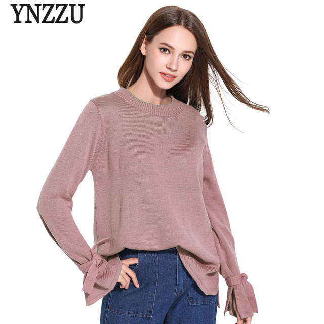 2018 Women Sweaters And Pullovers Lace Up Bow Sleeve Solid Knitted Sweater  O Neck Elegant Women af3d397ba