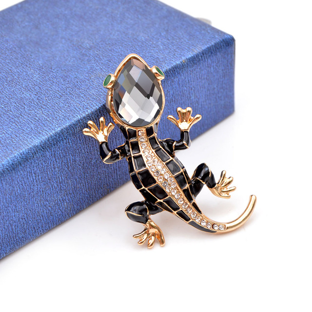 Crystal Lizard Brooches for Women Cute Fashion Animal Pins Summer Style Shining Jewelry Kids Accessories Good Gift