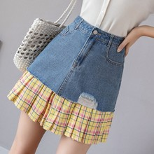 Plus Size Hole Denim Skirt Women Summer Fashion Button Jean High Waist Skirts Casual Vintage Plaid Splice Pleated