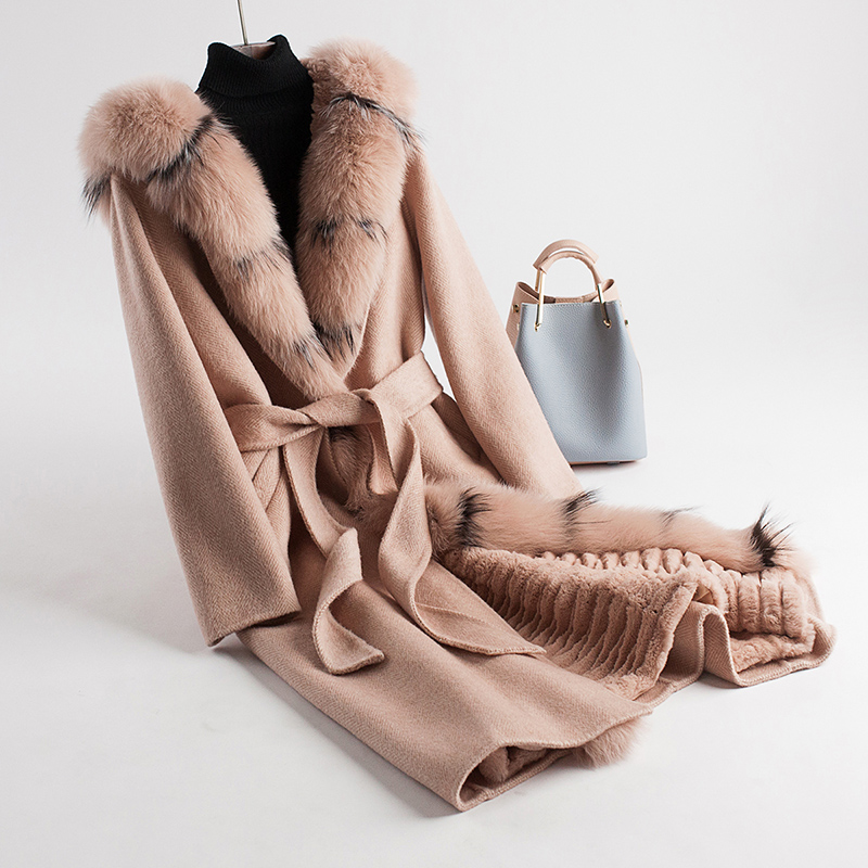 Winter Jacket Woman Double-sized Wool Coat Natural Fox Fur Rex Rabbit Fur Coats Winter Parka Thick Warm Women Removable Lining