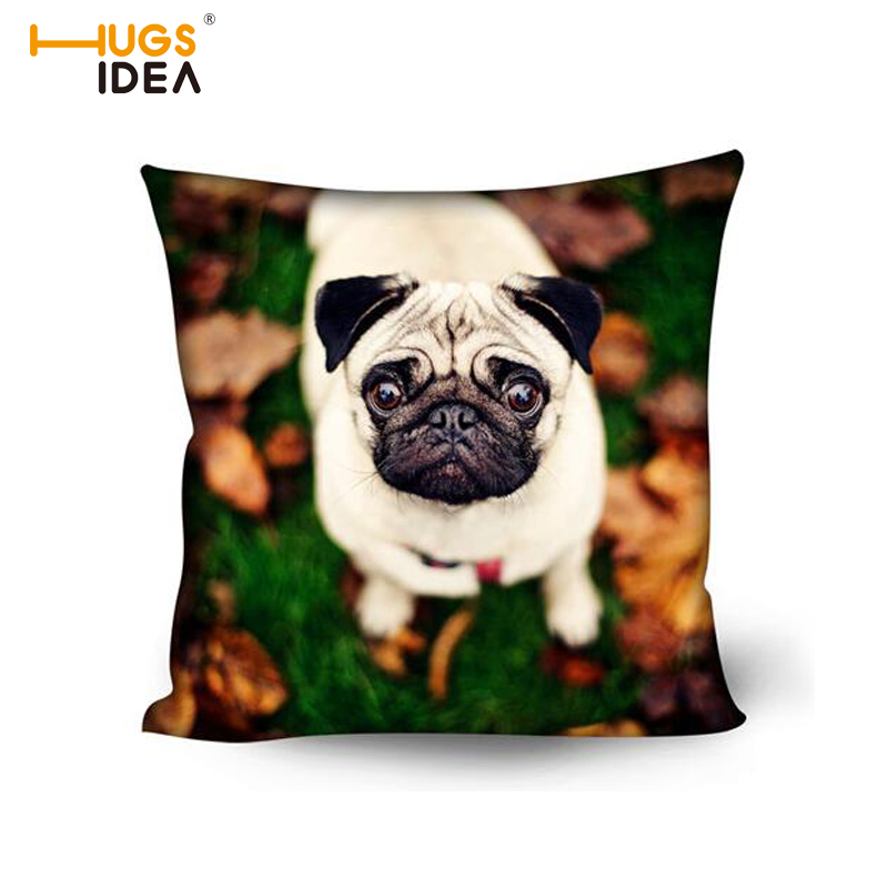 HUGSIDEA Pug Dog Pillow Case Waist Throw Cover Boston Terrier Decorative Pillow Cover Bedroom Home Office Protect Block Cover