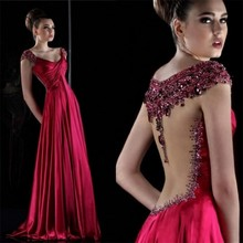 Red 2017 Evening Dresses Illusion Beaded Pearls Vestido De Festa Princess Style Formal Gowns For Wedding Party Dresses
