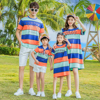 Family Matching Set Mother Daughter Seaside Beach Striped Dress Father Son T shirt +Shorts Family Look Matching Couple Outfits