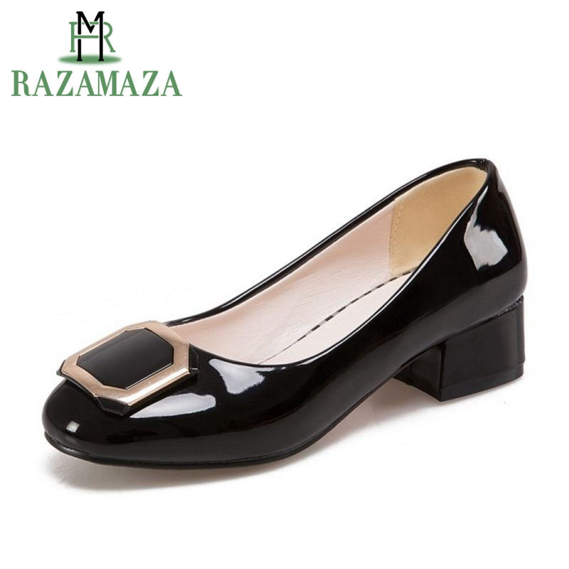 RAZAMAZA Size 32-45 Office Ladies High Heel Shoes Women Round Toe Metal Decoration High Heel Pumps Party Daily Female Footwears kemekiss size 32 45 women concise pumps square toe high heels shoes solid office lady thick heel pump party wedding footwears