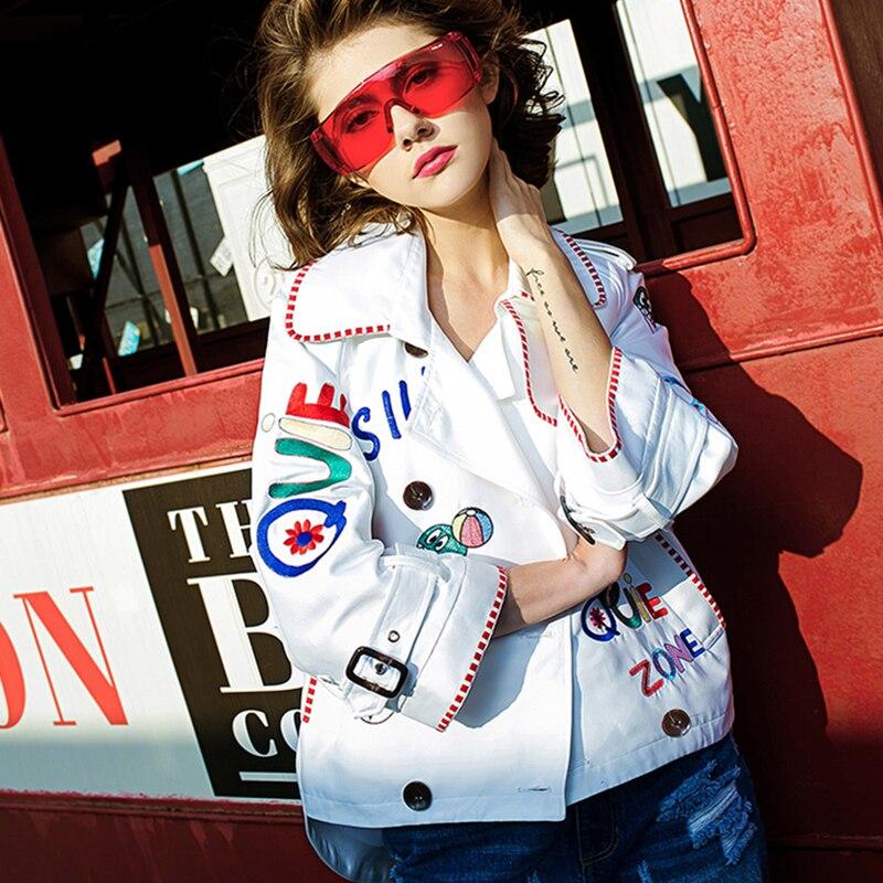 Printemps Down White Turn Veste Femmes Occasionnel Lettre Jq584 Blanc Lâche De Col Femelle 2018 Mode Manteau Bande Broderie Outwear Dessinée Automne w5CqxRXq
