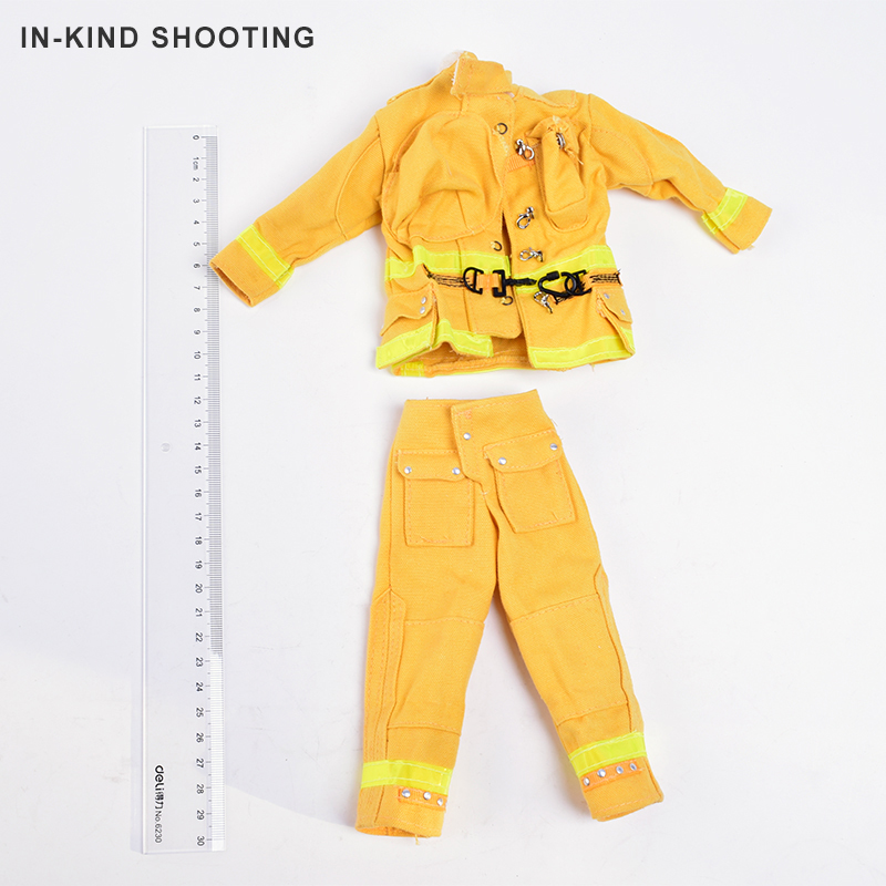 1/6 Scale Clothes Set Accessories Yellow Fireman Helmets Firefighter Gas Masks Clothing And Equipment Suit For 12Soldier Figure