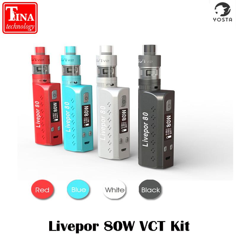 Prix pour 100% D'origine Yosta Livepor 80 VTC Kit 80 W TC Boîte Mod Temp Contrôle 18650 Vapeur Mod Cigarettes Électroniques Corps Mods