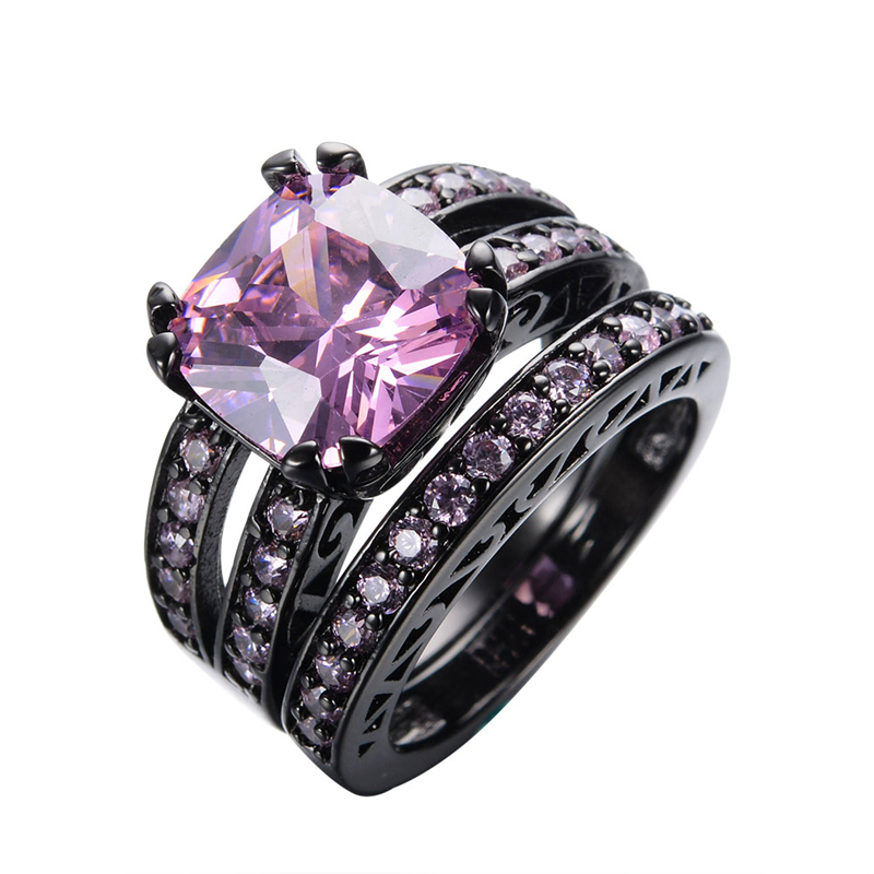 elegant princess cut pink stone couple rings womens fashion crystal jewelry black gold filled wedding ring - Pink And Black Wedding Ring Set