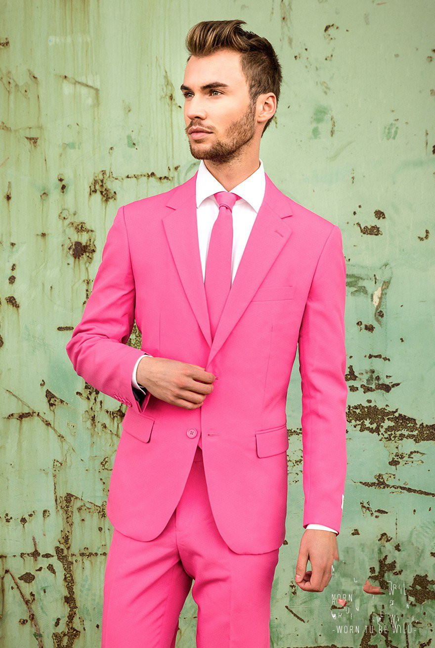 Latest Coat Pant Designs Hot Pink Men Suit Slim Fit 2 Piece Casual Tuxedo Custom Fashion Party Suits Terno Masculino Jacket+Pant